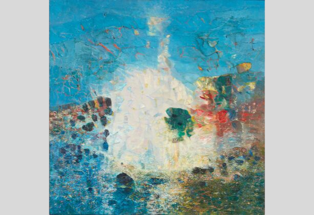 Abdallah Benanteur (Algerian), To Monet, Giverny, 1983. Oil on canvas, 47 1/4 x 47 1/4 in. Collection of the Barjeel Art Foundation, Sharjah, UAE